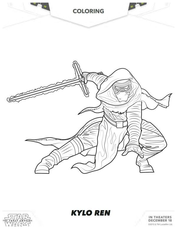 Star Wars The Force Awakens Kylo Ren Coloring Page Disney