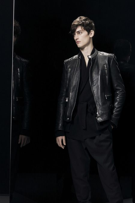 BALMAIN. 'Thin' Black Leather Moto Style Jacket,  Balmain Collection. Men's Fall Winter Fashion. 2014.