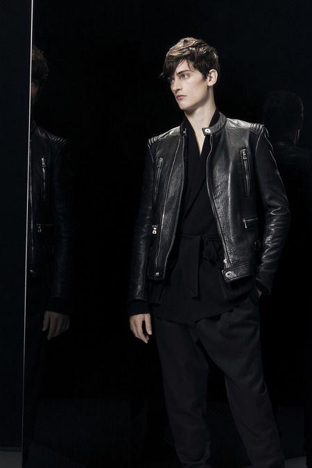 BALMAIN. 'Thin' Black Leather Moto Style Jacket,  Balmain Collection. Men's Fall Winter Fashion. 2014.