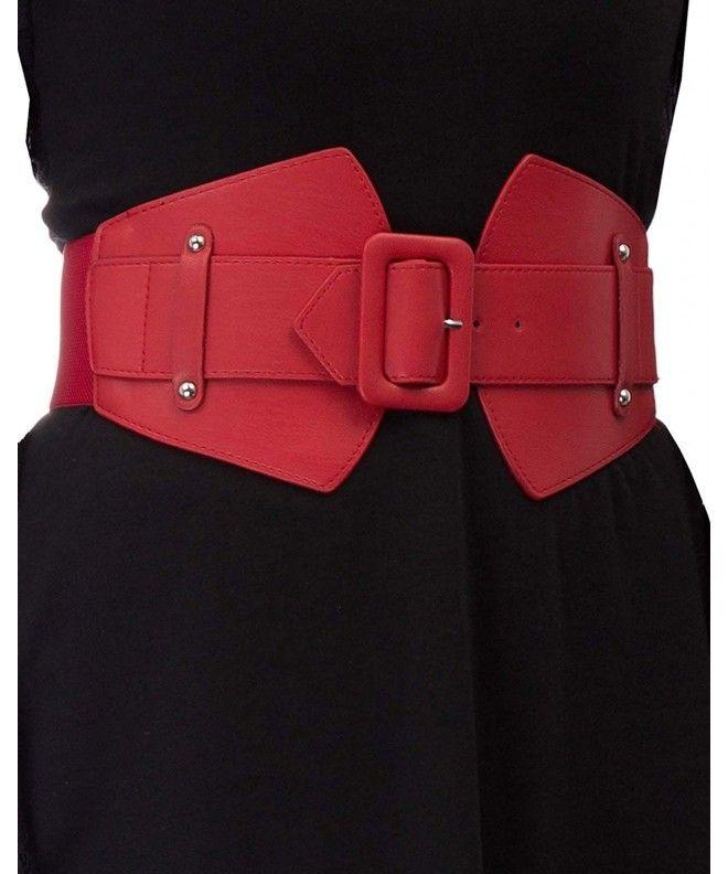 Women S Vintage Cinch Belt Wide Elastic Buckle Corset Belts Red