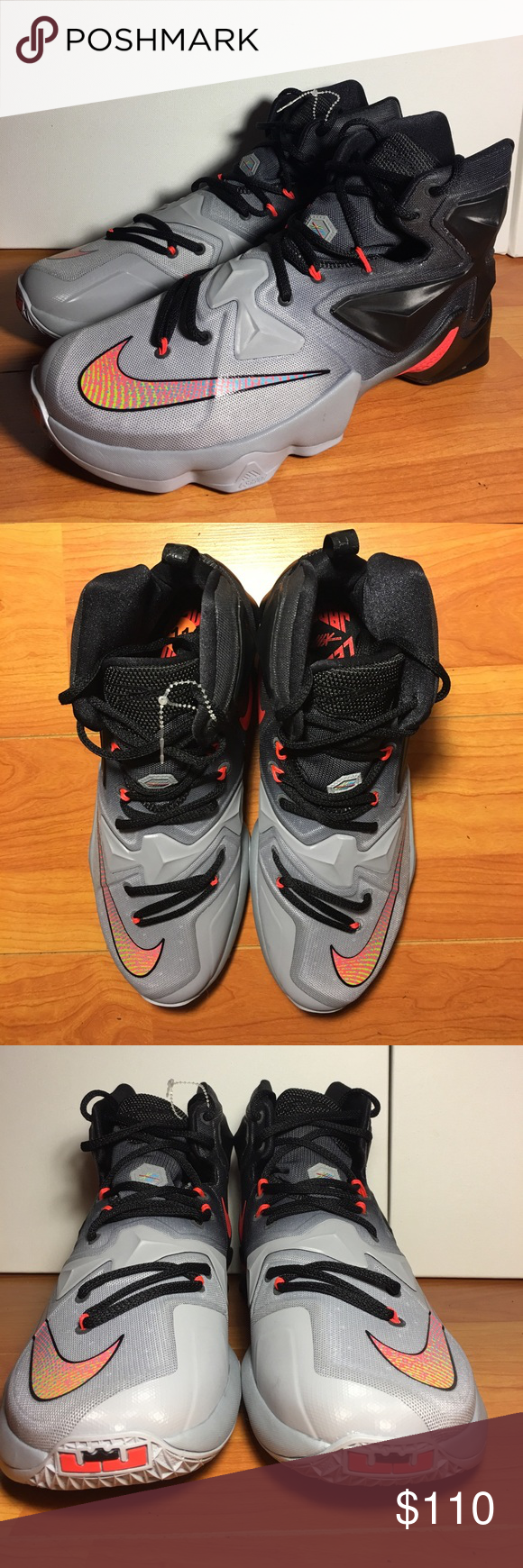 best service 74168 2902f NWTNike LeBron 13 is dressed in a Wolf Grey NWTNike LeBron 13 is dressed in  a Wolf Grey, Black, Bright Crimson, Volt and Reflect Silver color scheme.