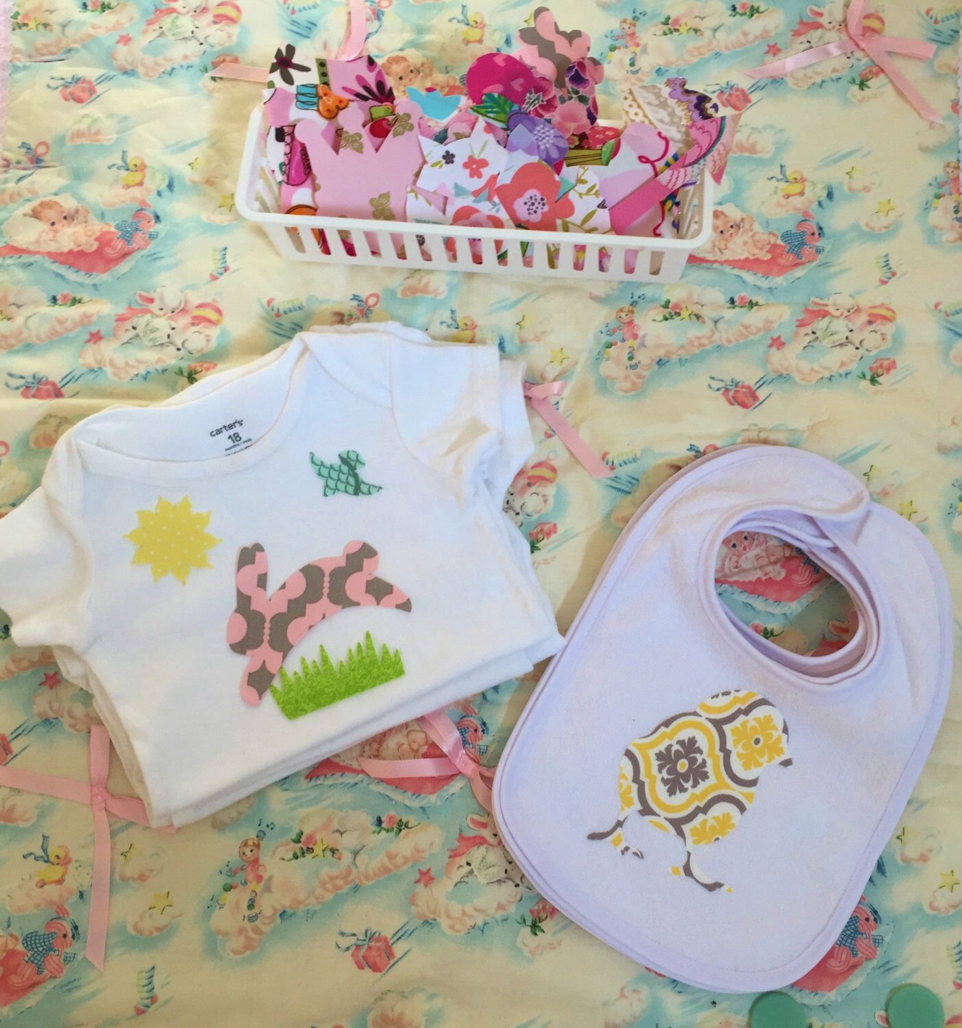 25 Guest Baby Shower Kit, 45 Appliques, Bibs And Onesies Kit, Baby Girl