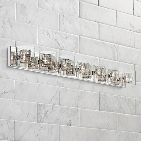 Sensational Possini Euro Wrapped Wire 56 Wide Chrome Bathroom Light Home Interior And Landscaping Staixmapetitesourisinfo
