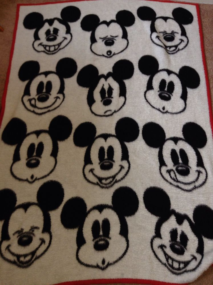 Vtg Walt Disney Mickey Mouse Biederlack Throw Blanket Reversible Red Black Walt Disney Mickey Mouse Disney Mickey Mouse Disney Mickey