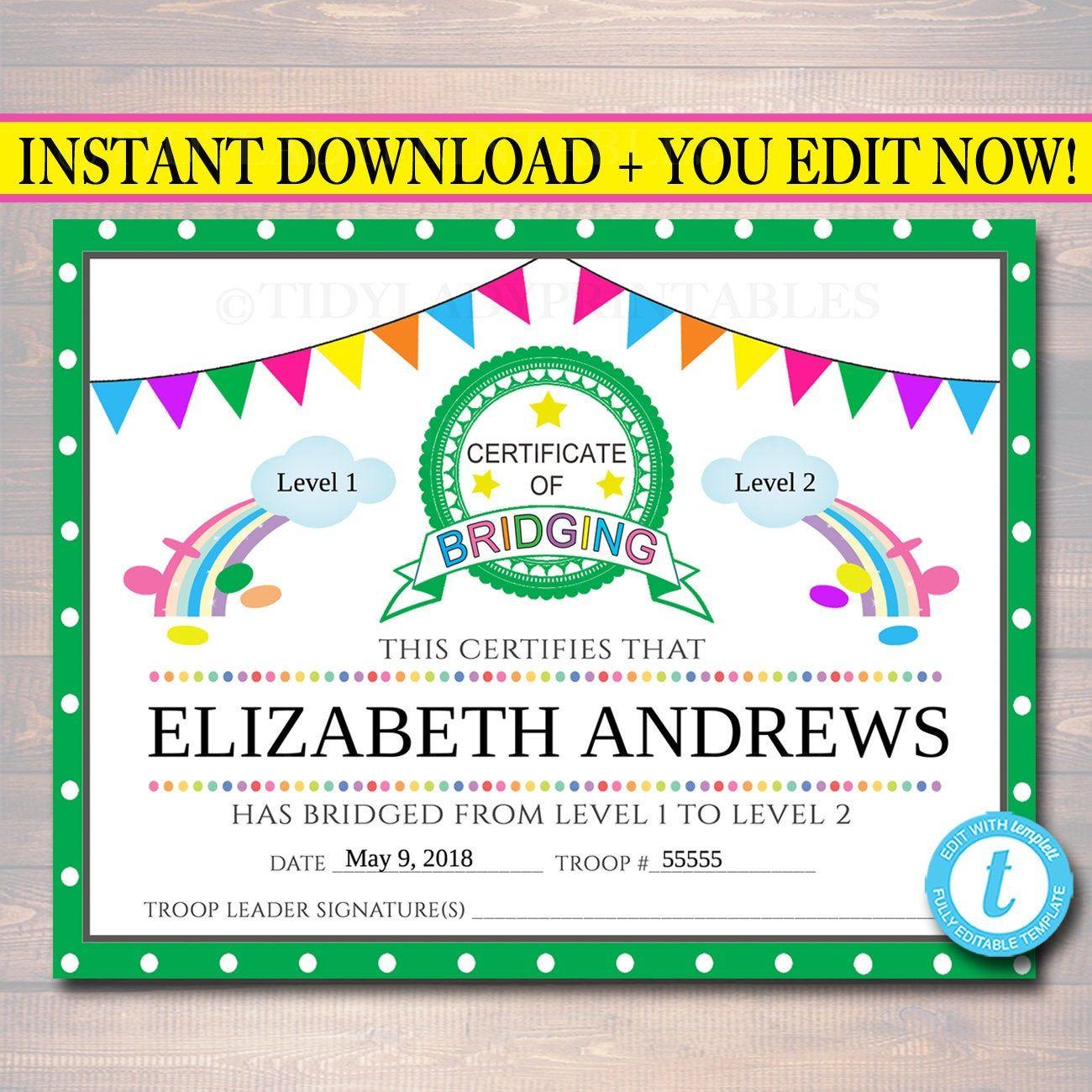 EDITABLE Bridging Certificate