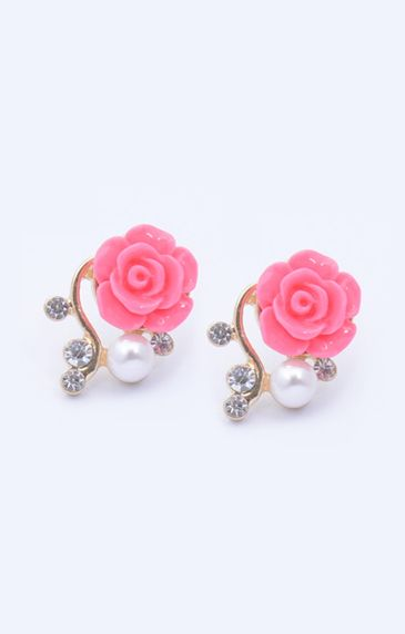 Fashion Pearl Crystal Pink Rose Gold Earrings