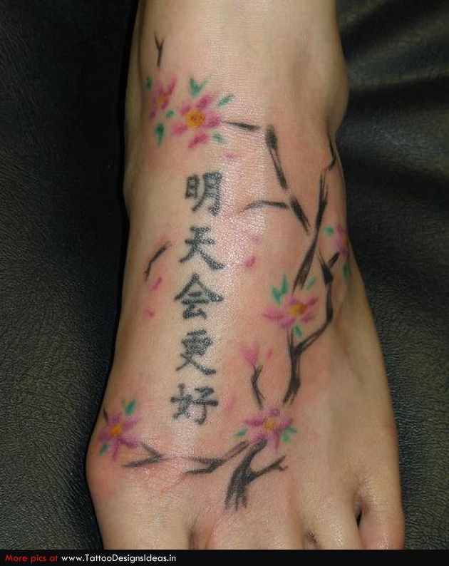 cherry blossom with chinese symbols foot tattoo pinterest