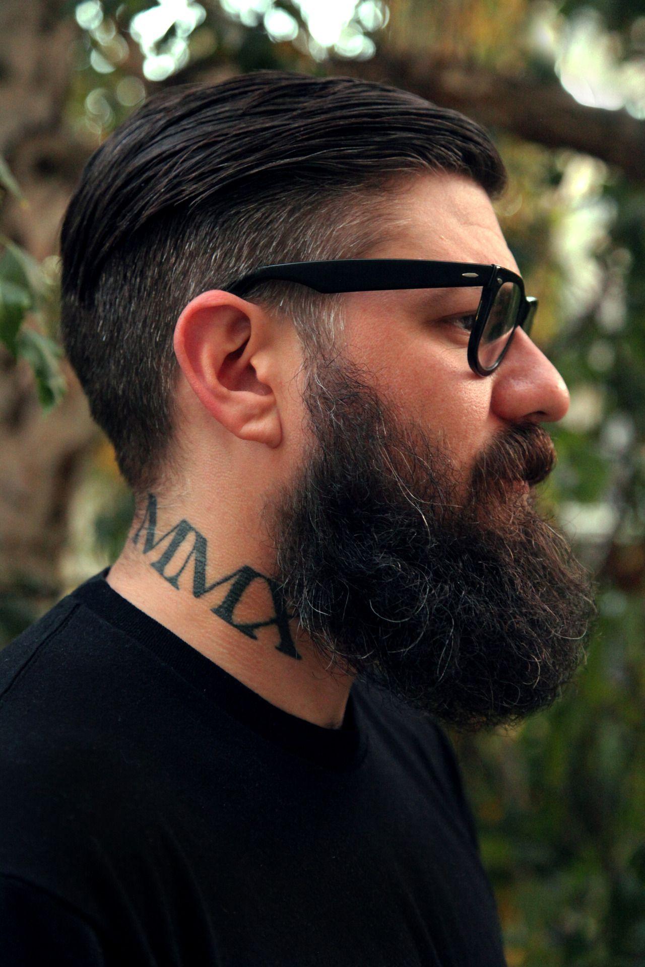 0c5323f9d9ac profile shot of big thick dark full beard beards bearded man men nice  coloration glasses style undercut tattoos tattooed tattoos