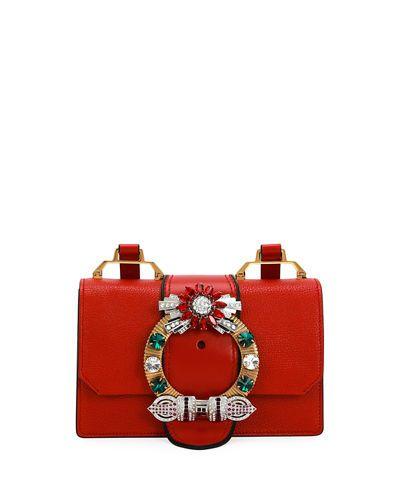 da59f210ed0d V3D5D Miu Miu Lady Jeweled Madras Leather Shoulder Bag | Beautiful ...