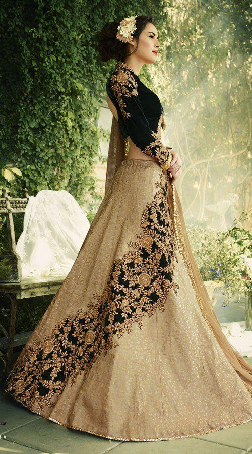 Beige Jacquard Lehenga With Velvet Koti Style Choli Ry40106 Indian Gowns Dresses Lehenga Designs Indian Gowns