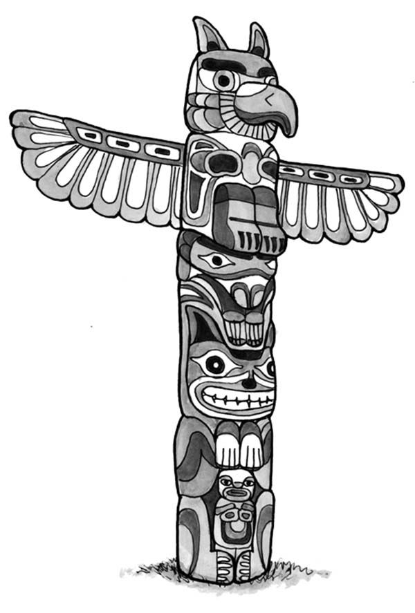 totem poles animal figure totem poles coloring page