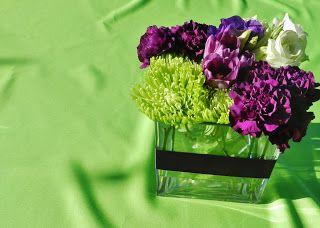 Purple & Green wedding flowers (purple carnations, lime green mums ...