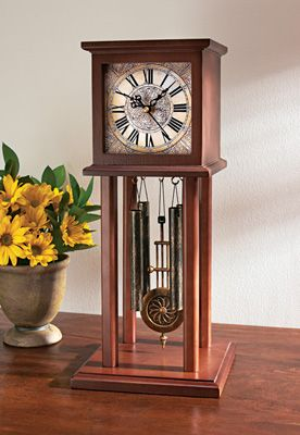Wonderful Chatham Miniature Tabletop Grandfather Clock With An Arrangement Of  Sunflowers