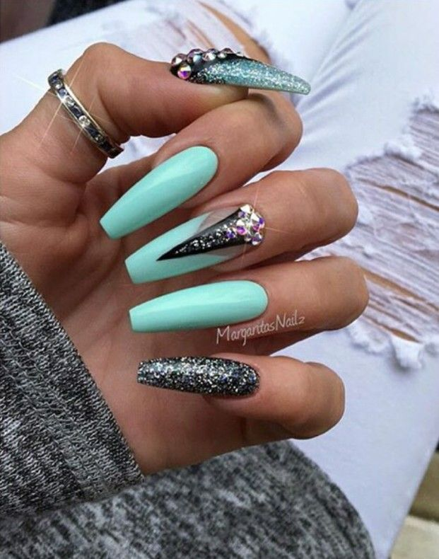 Turquoise And Gray Glitter Long Coffin Nails Long Nails Nail Designs Coffin Nails Designs