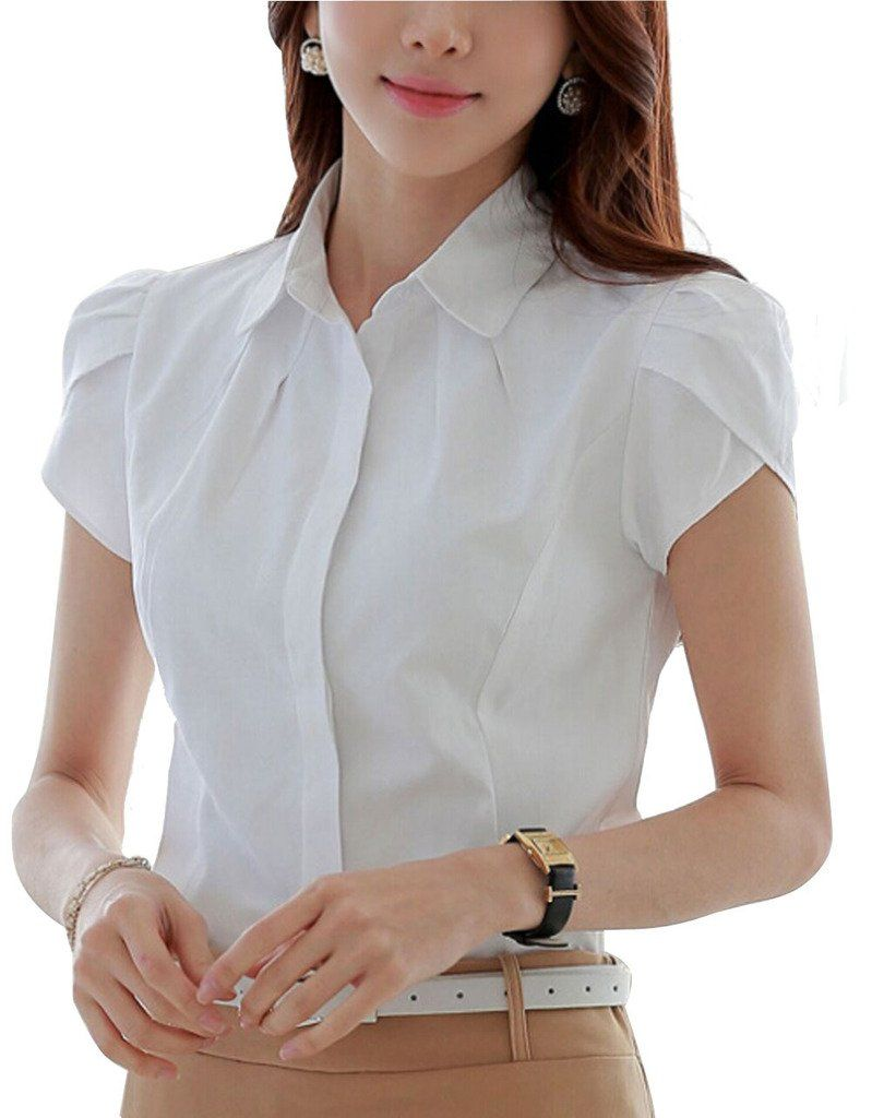 550efa48bd DPO Lady's Slim Cotton V-Neck Office Formal Work Shirt Short Short Sleeve  Blouse