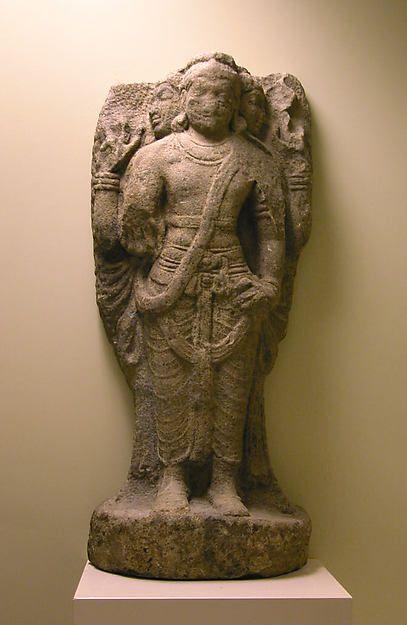 Standing Brahma. Chola period 10-11th C. South India. Granite H. 34 1/2 in.