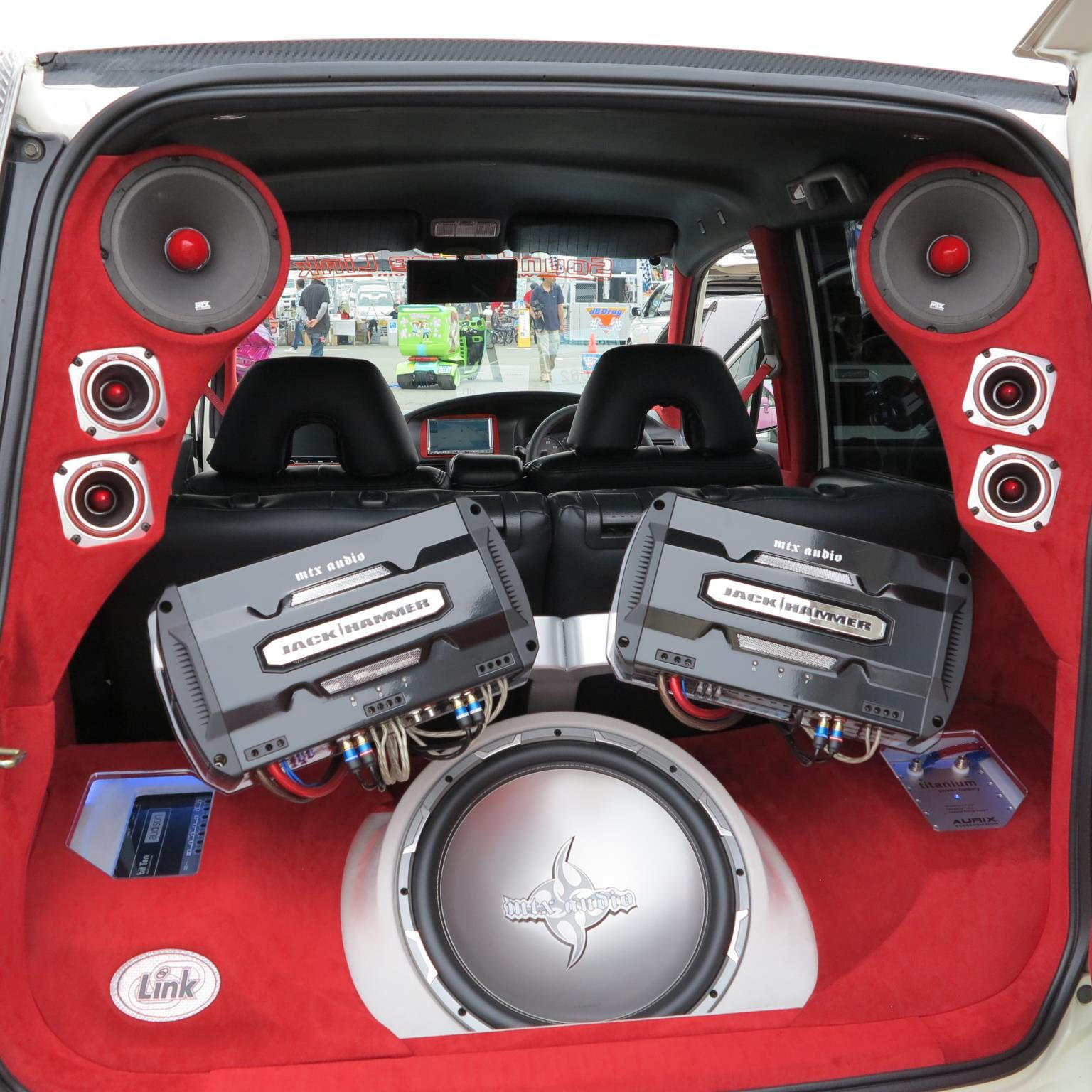JackHammer series amps and subwoofer with RoadThunder Extreme speakers and  tweeters.