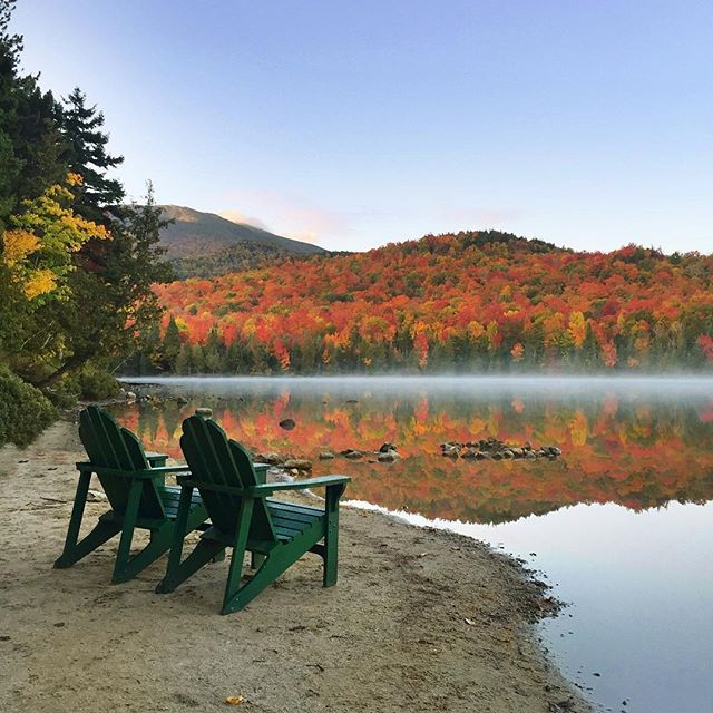 Best seats in the house 🍂🍁 A little throwback to this ADK view, since my current view involves a couple inches of snow 😳