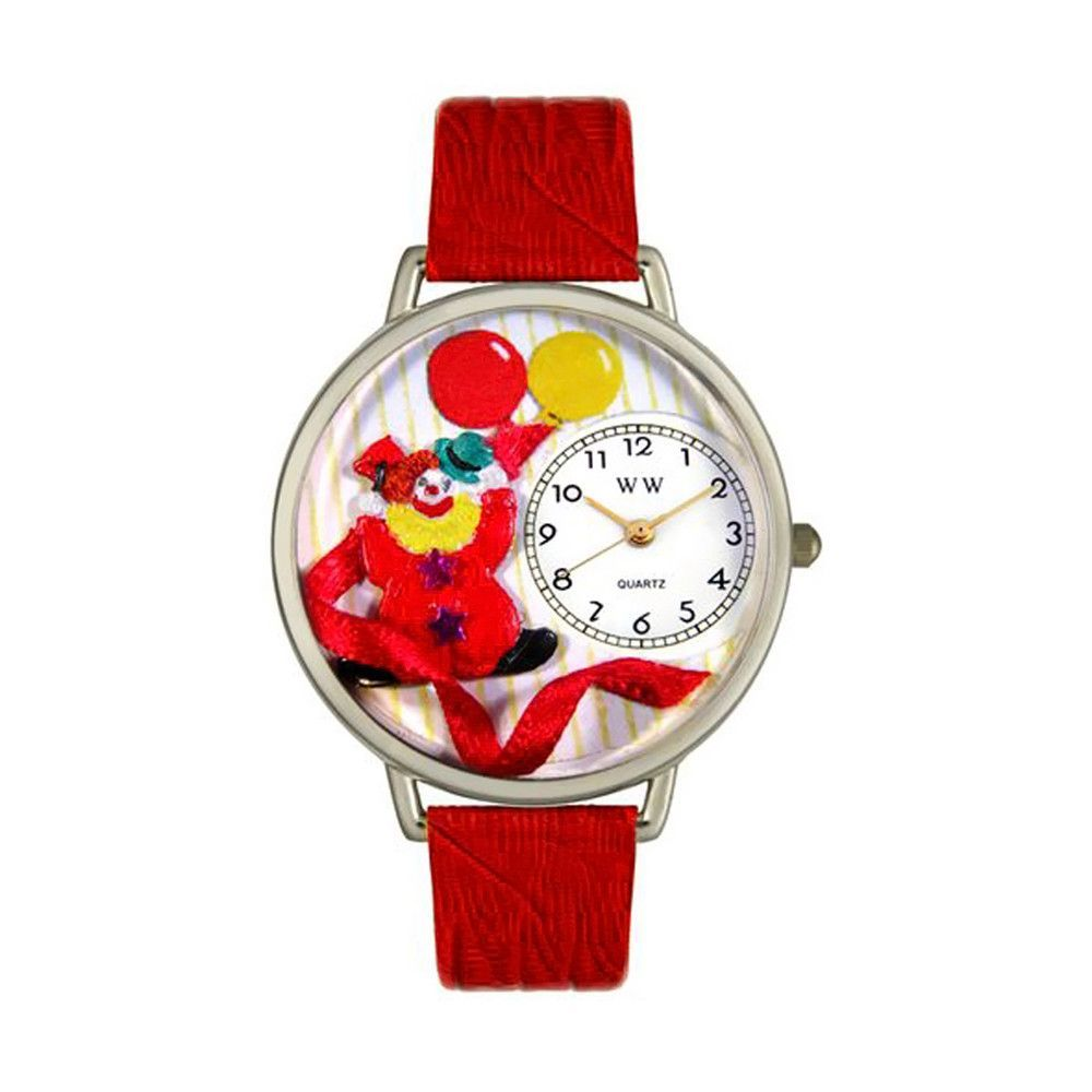Happy Red Clown Red Leather And Silvertone Watch