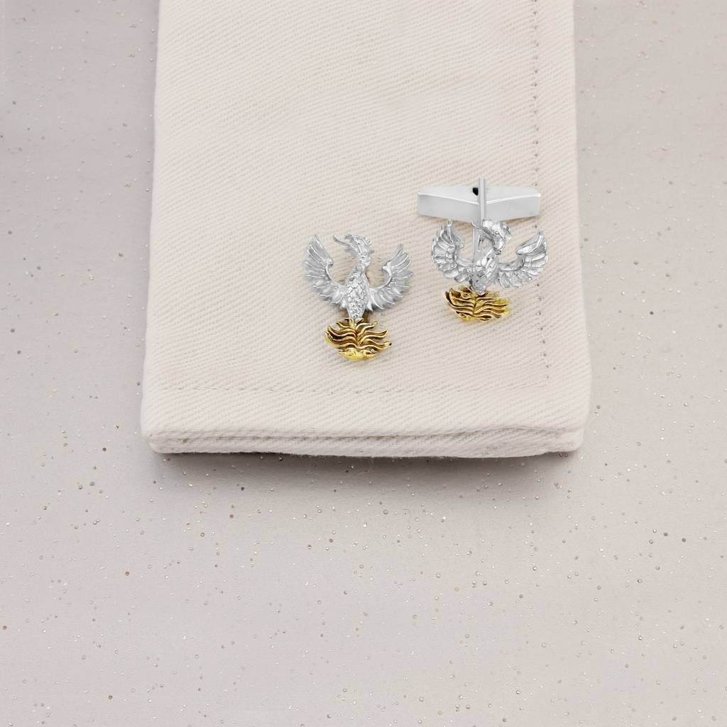 57a1e2ad4 Are you interested in our Phoenix cufflinks silver gold? With our Mythical  creatures cufflinks you need look no further.