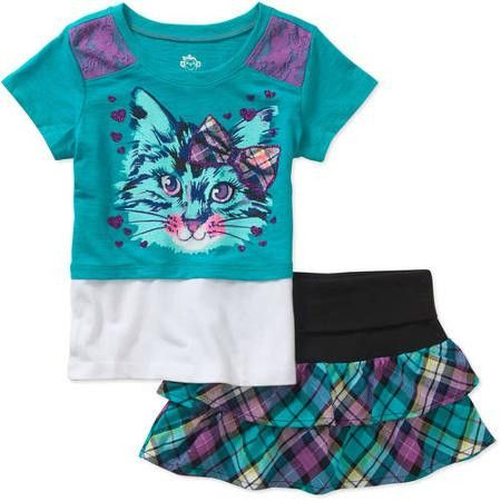 365 Kids from Garanimals Girls' Twofer Tee and Plaid Scooter, 2 Pack