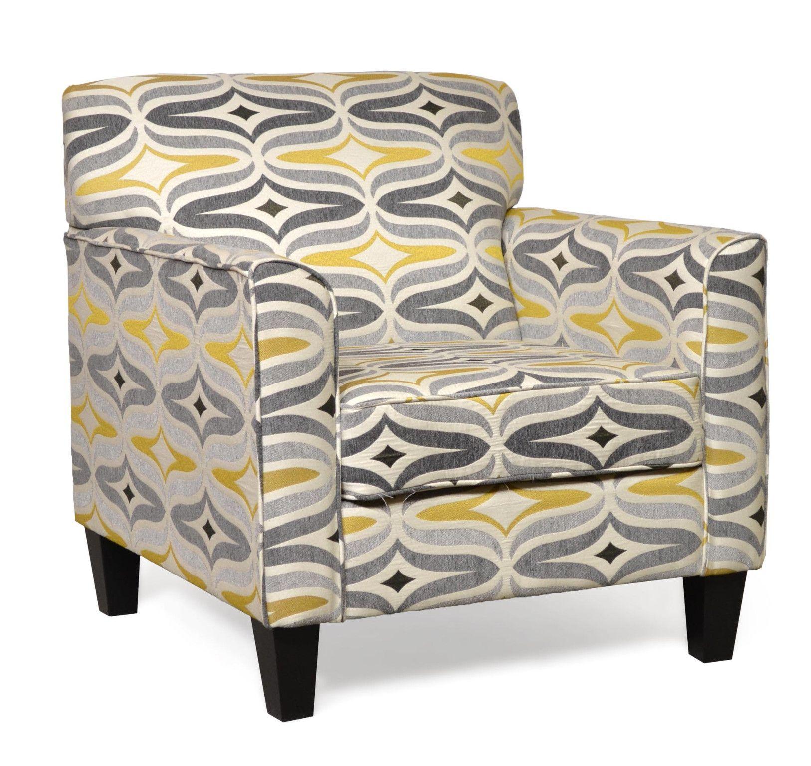 Sara Accent Chair in Barton Chinchilla Contemporary Style
