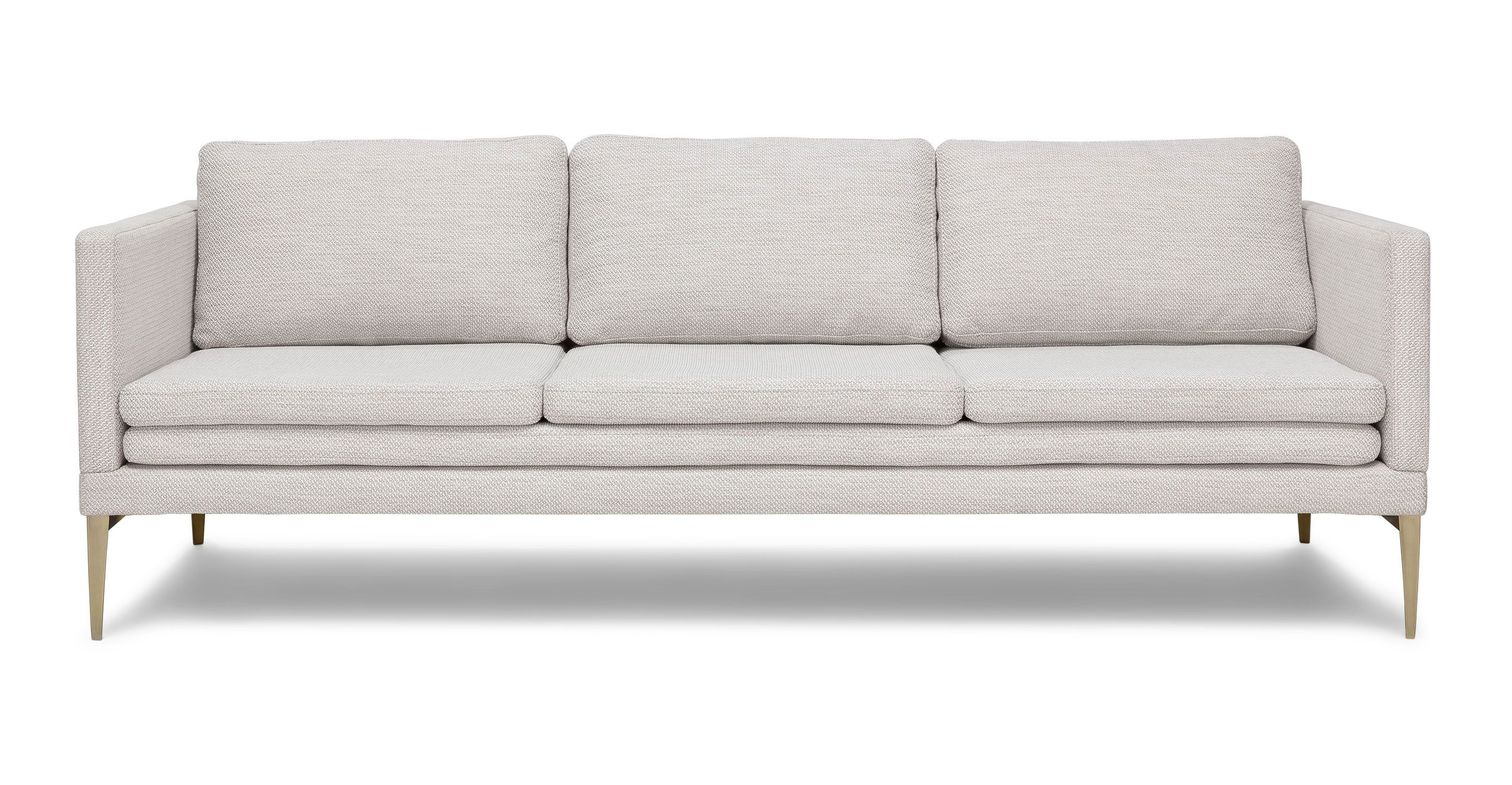 Ivory White Sofa With Metal Legs   Article Triplo Contemporary Furniture is part of Formal Living Room Sofa - Slim and elegant, this sofa has an unexpected triple layer seat and stiletto metal legs  The down filled cushions are covered in a heavy weave tweed fabric, with just a slight touch of shiny thread  If it's fashion and function that you're after, this is the sophisticated choice for you