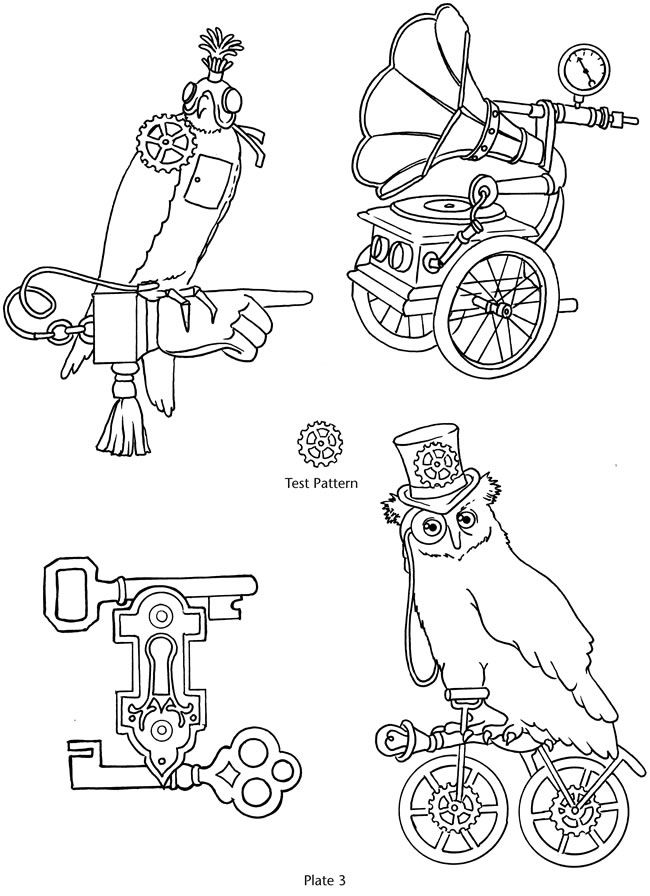 Steampunk objects coloring: Dover Publications sample | steampunk ...