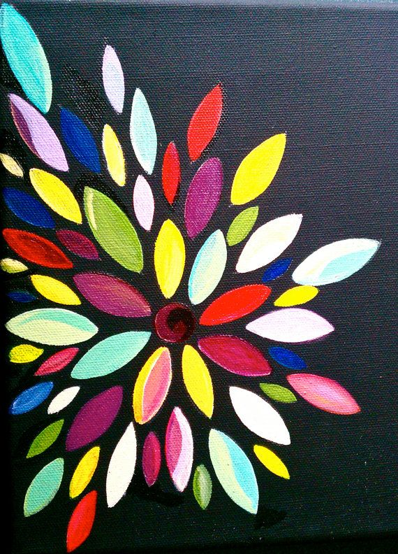 Colorful abstract flower painting by bunnytheduck on etsy for Easy to do abstract paintings
