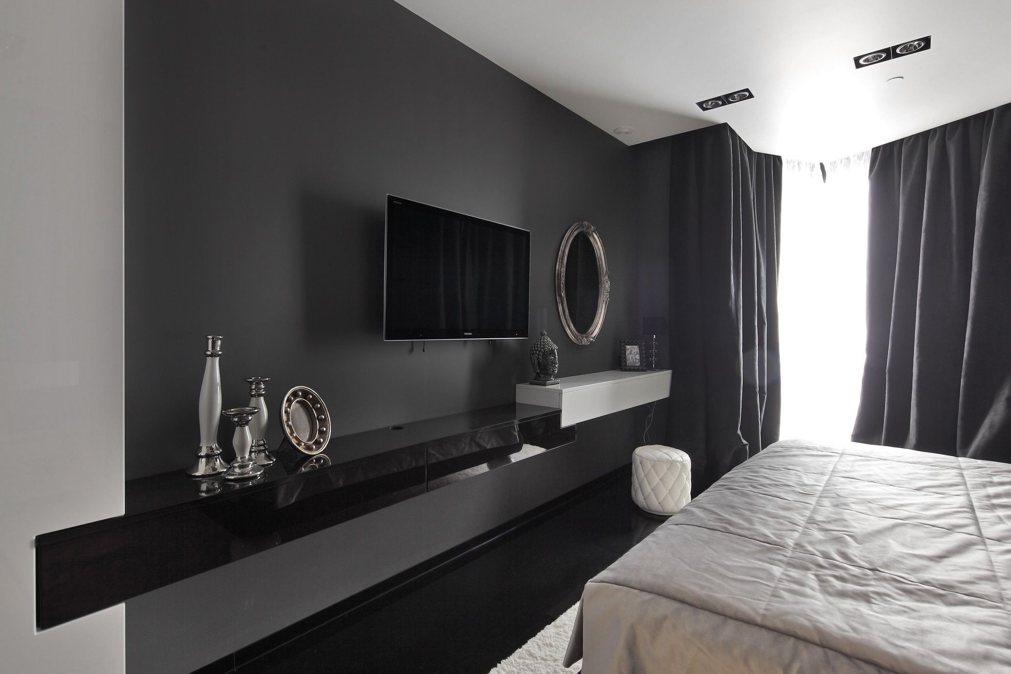 Black Gloss Floating Tv Unit Purple Wall  Google Search  Living Captivating Living Room Tv Cabinet Designs Decorating Design