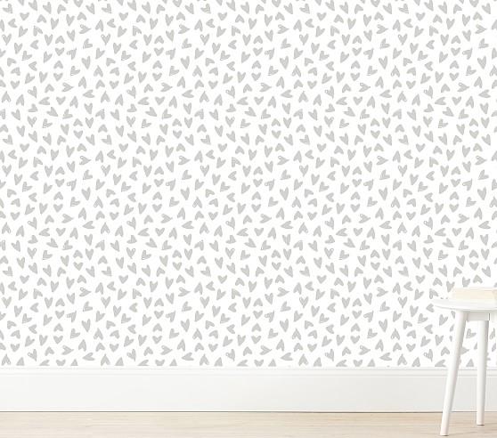 Scatter Hearts Wallshoppe Wallpaper Pottery Barn Kids Heart Wallpaper Peel And Stick Wallpaper Cloud Decal