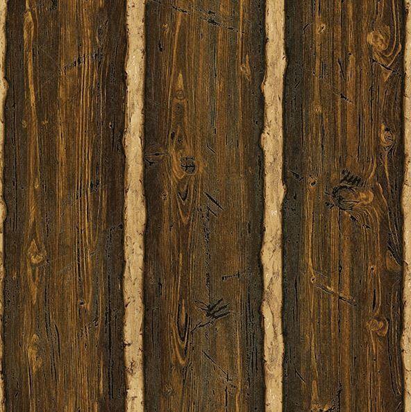 """Echo Lake Lodge Log Cabin 33' x 20.5"""" Wood 3D Embossed Wallpaper"""