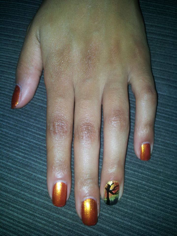 Fall nails 2013 Fall colors with a barren tree | Nail Designs ...