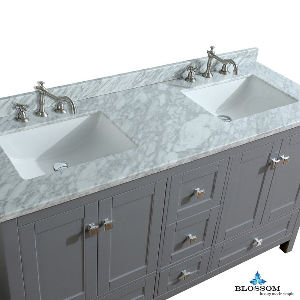 Dubai 60 White Vanity Bathroom Marble Countertops Bathroom