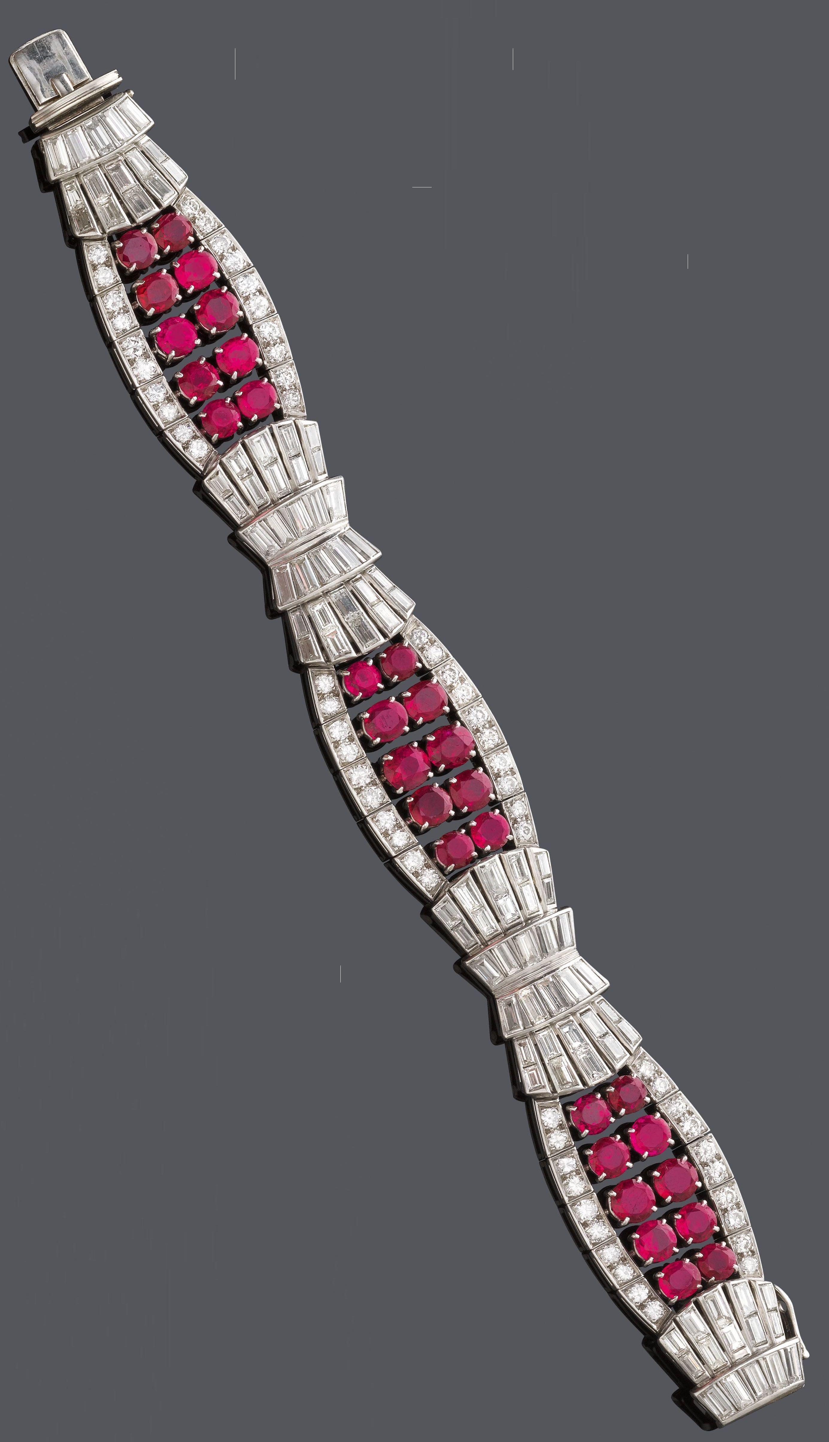 An art deco ruby and diamond bracelet circa designed as three