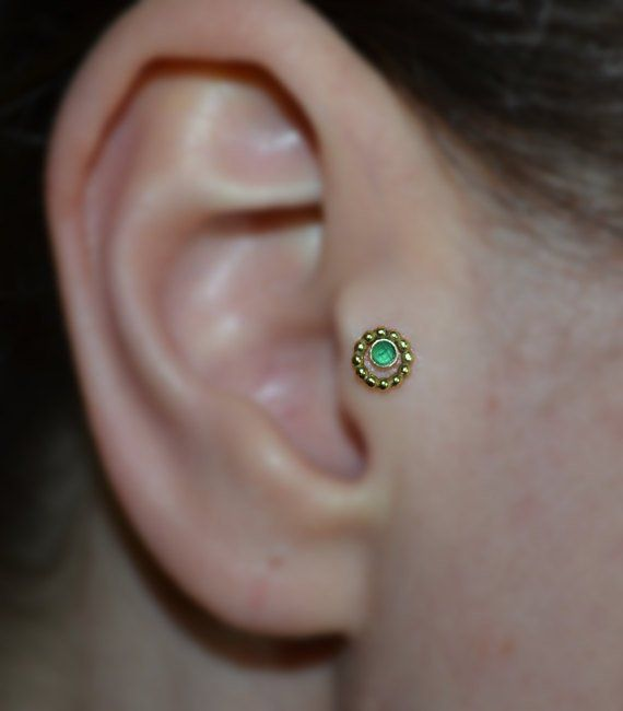 18116f88d 2mm Emerald NOSE STUD // Gold Nose Ring - Tragus Earring Stud - Forward  Helix Earring - Cartilage St