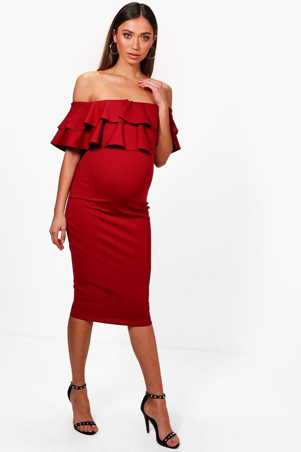 45f3608bc4ae4 Click here to find out about the Maternity Lauren Ruffle Off The Shoulder  Midi Dress from Boohoo, part of our latest Maternity Clothing collection  ready to ...