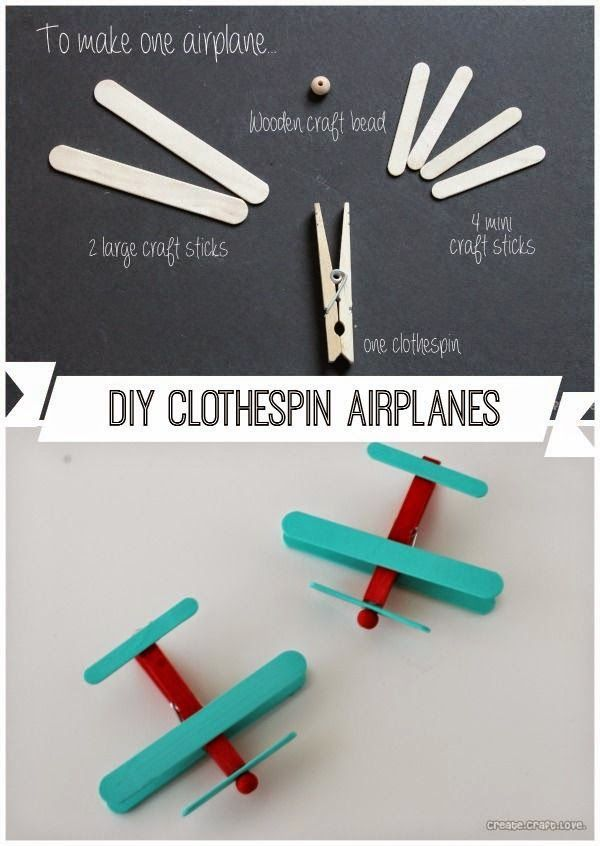 best diy projects clothespin airplanes party favors social studies pinterest flugzeug. Black Bedroom Furniture Sets. Home Design Ideas