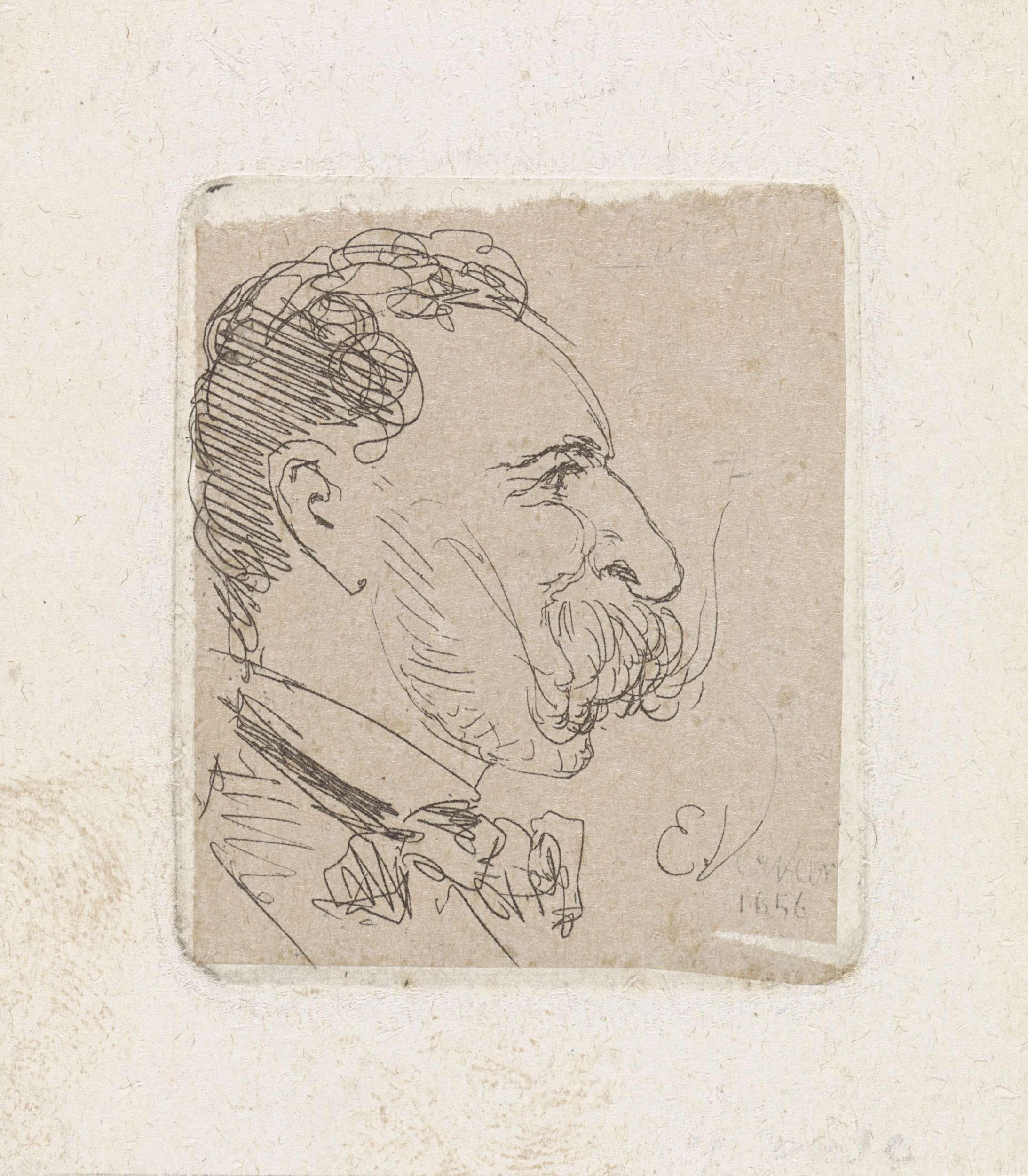 Elchanon Verveer | Portret van Elchanon Verveer, Elchanon Verveer, 1856 | Zelfportret naar rechts van de kunstenaar Elchanon Verveer.