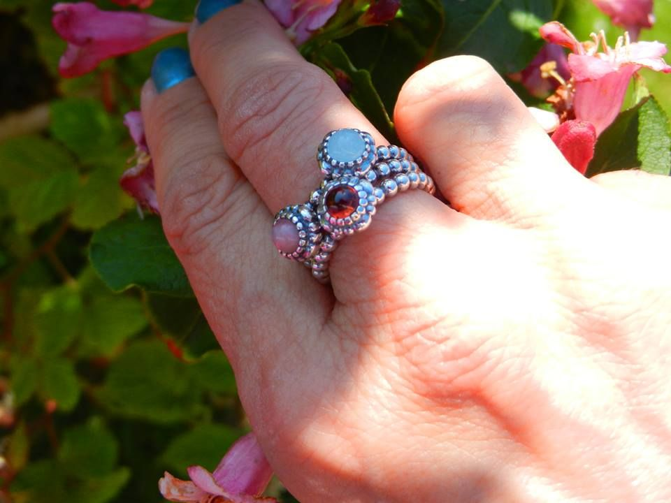 6a4a14633 Pandora birthday blooms ring stack | Pandora page in 2019 | Pandora ...