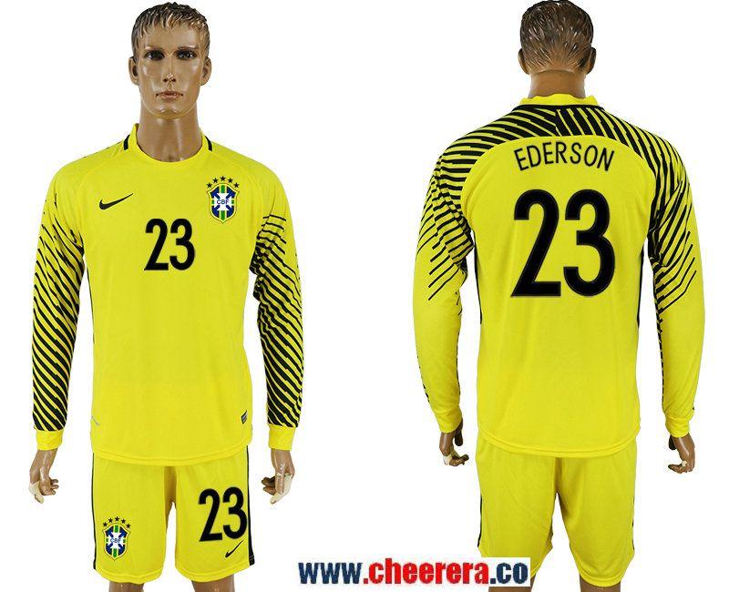 5c5e970c6b2 Brazil 23 EDERSON Yellow Goalkeeper 2018 FIFA World Cup Long Sleeve Soccer  Jersey