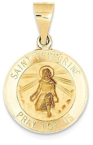 Icecarats designer jewelry 14k yellow gold saint peregrine medal ice carats 14k yellow gold saint peregrine medal pendant charm necklace religious patron st saint anthonys corner mozeypictures Image collections