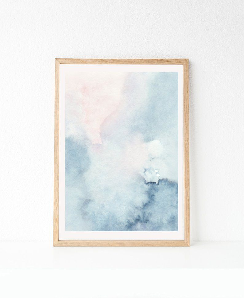 Printable Abstract Art Watercolor Wall Art Sky Print Blue