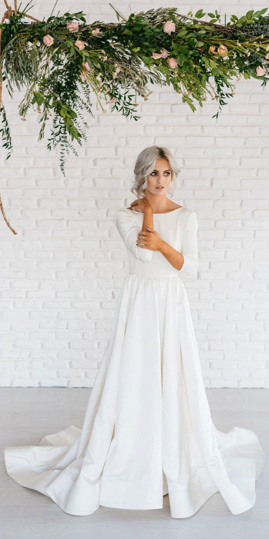 Modern Simple Long Sleeve ALine Satin Wedding Dress With Open Back