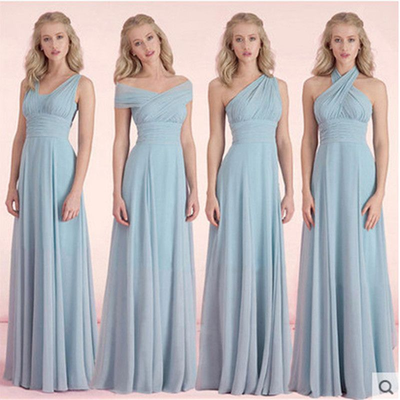 Ombre Turquoise Bridesmaid Dresses Chiffon