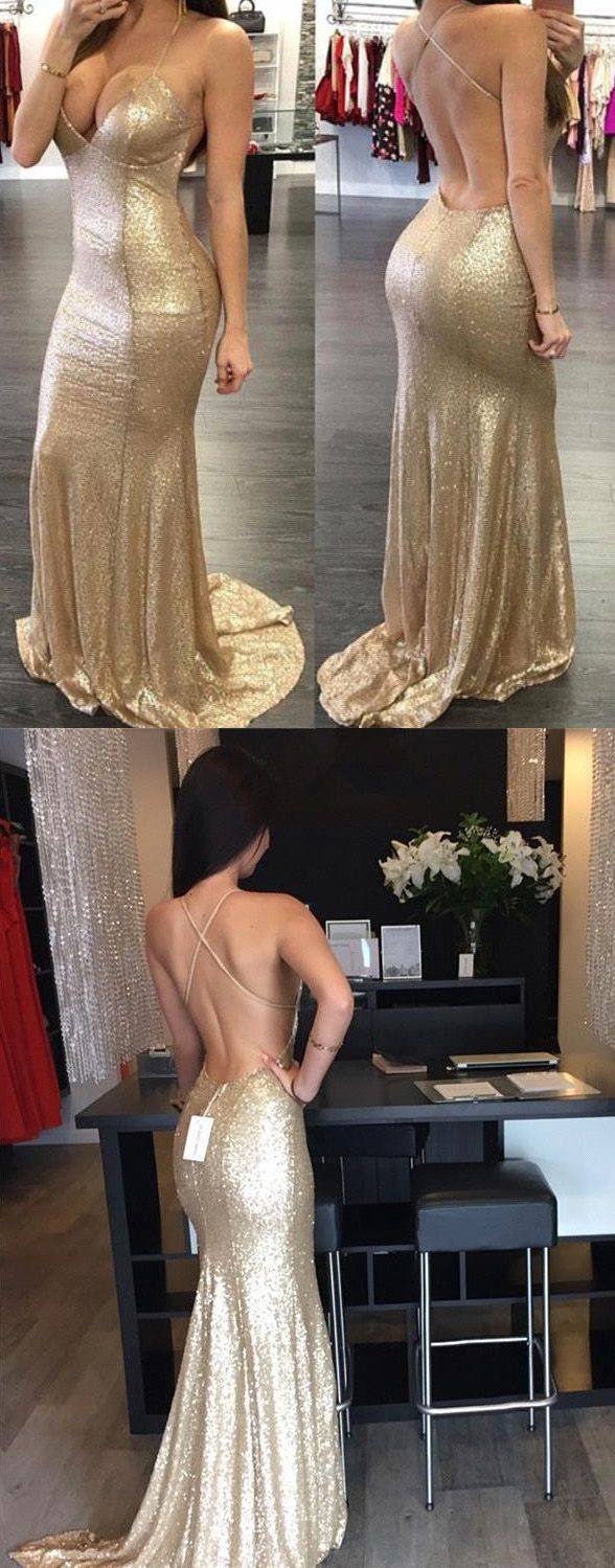 Customized sleeveless dresses long gold prom evening dresses with