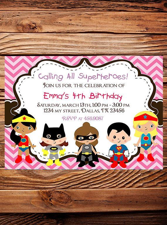 Superheroes Birthday Party Invitation GIRL Boy Heroes Birthday