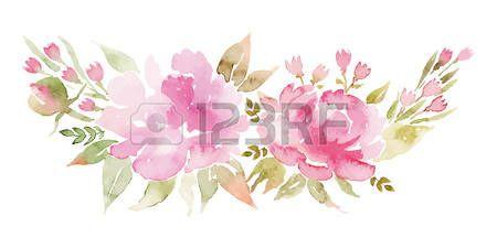 Bordure Decorative Aquarelle Fleurs Pivoines Cartes De Voeux A