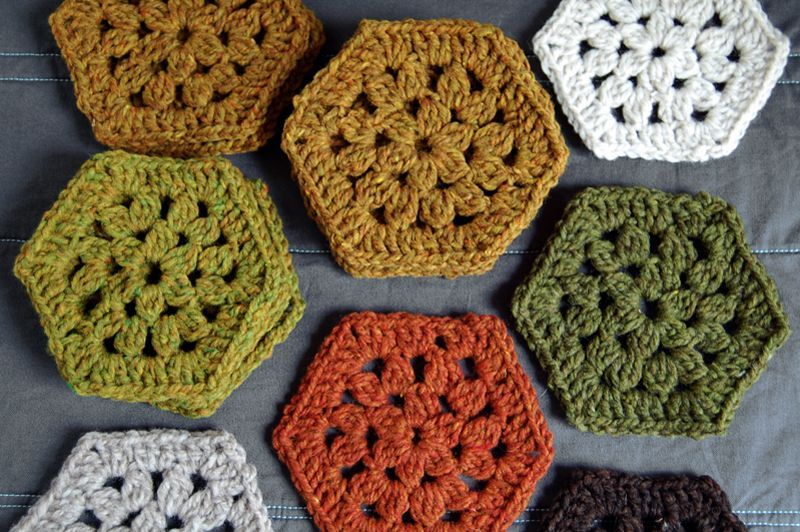 Crochet Hexagons {trying to decide what hex pattern to use for arm ...