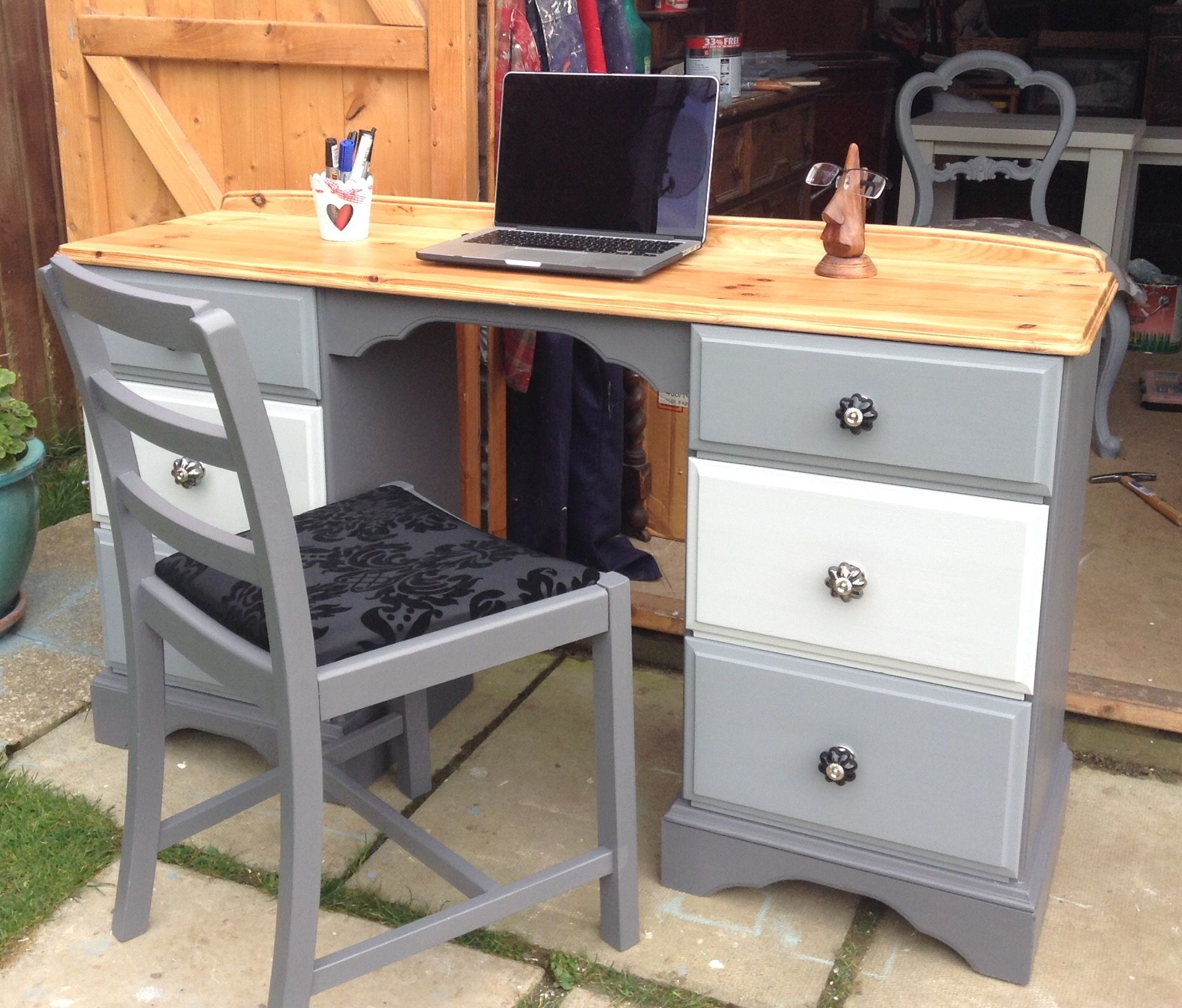 Solid Pine Desk Upcycled With General Finishes Driftwood Seagull Grey And My Own Colour Mix Pine Desk Upcycle Desk Grey Desk